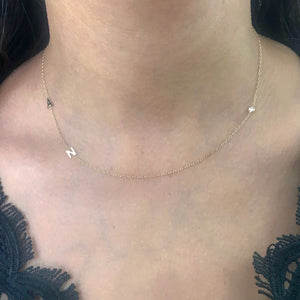 14K Two Mini Initial and Diamond Necklace