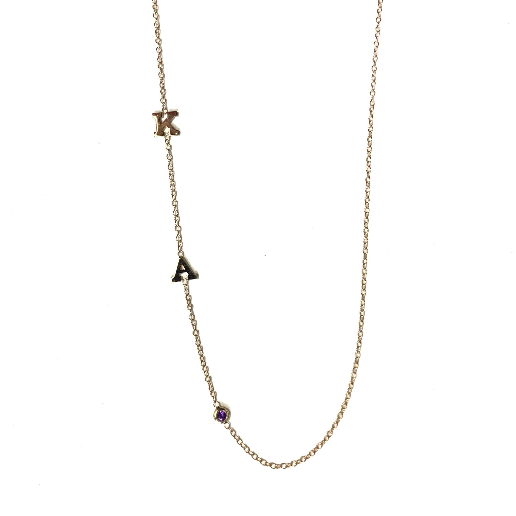 14K Gold Two Initial and Birthstone Necklace