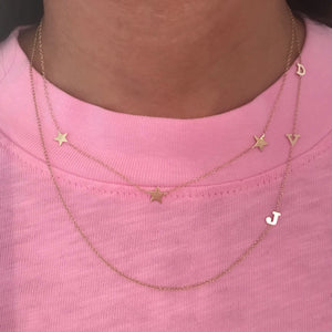 14K Gold Asymmetrical Three Initial Necklace