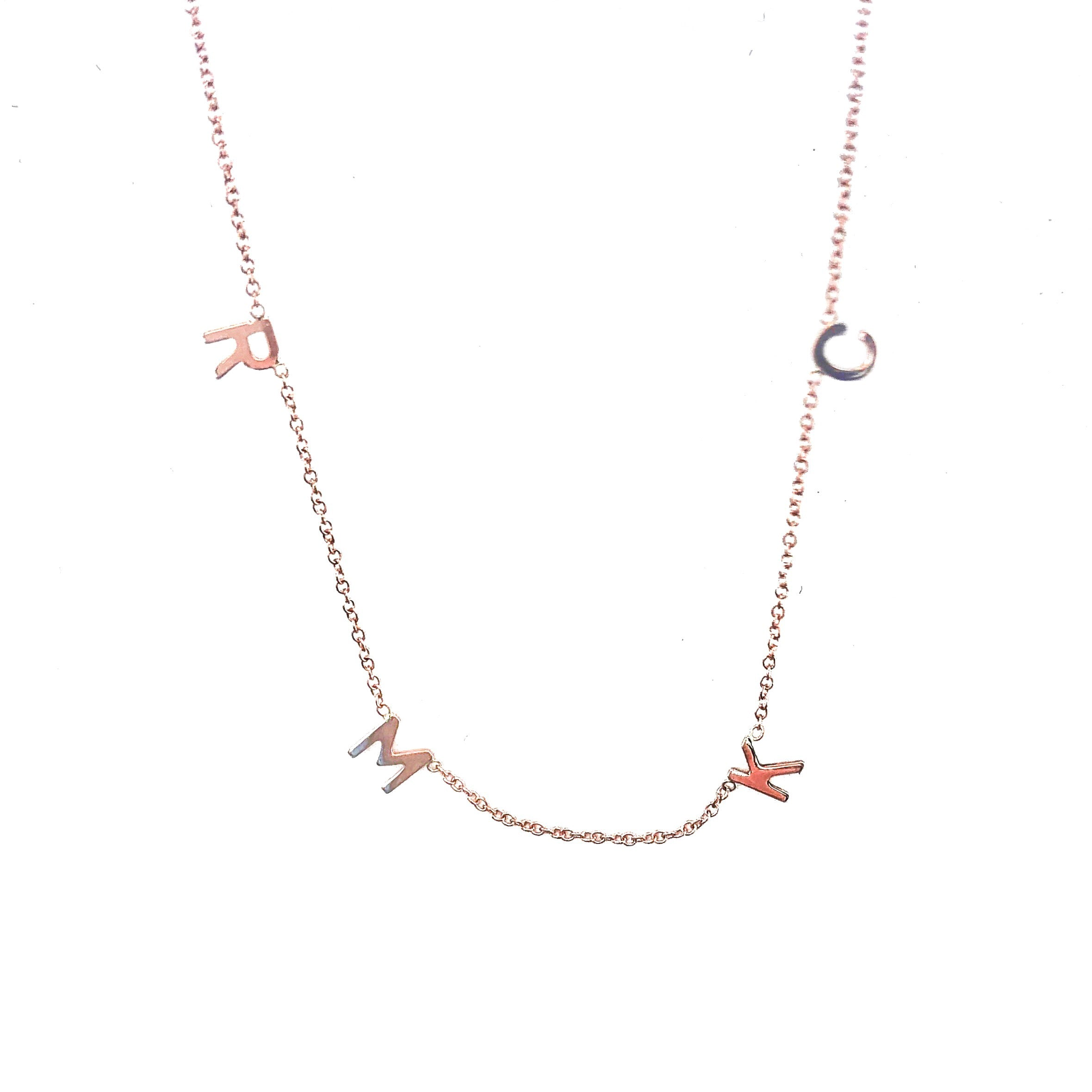 14K Gold Four Mini Initial Necklace
