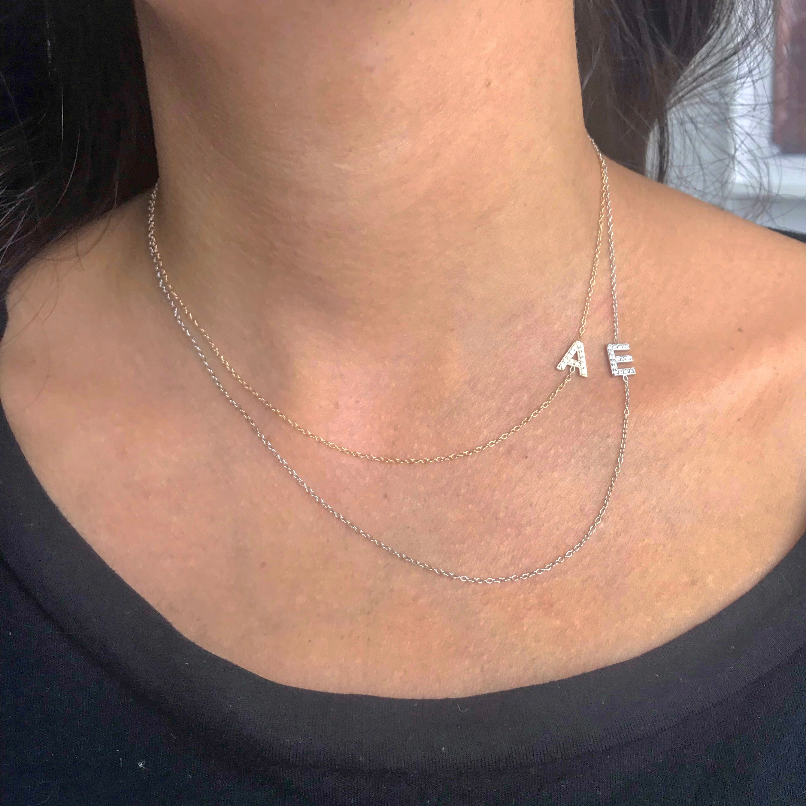 14K Gold Diamond Asymmetrical Initial Necklace
