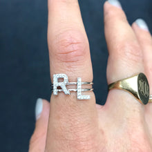 14K Diamond Initial Ring