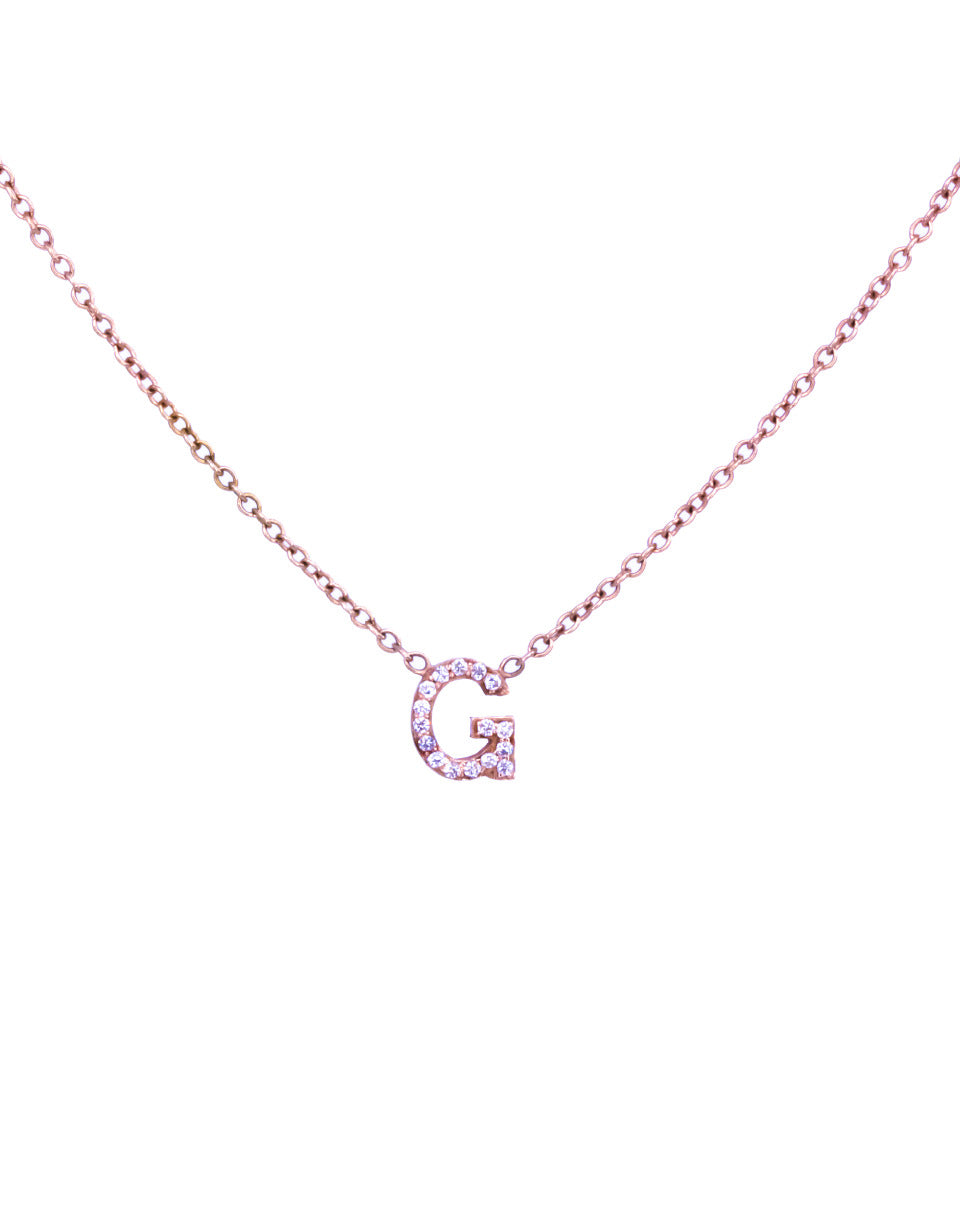 14K Gold Single Diamond Initial Necklace
