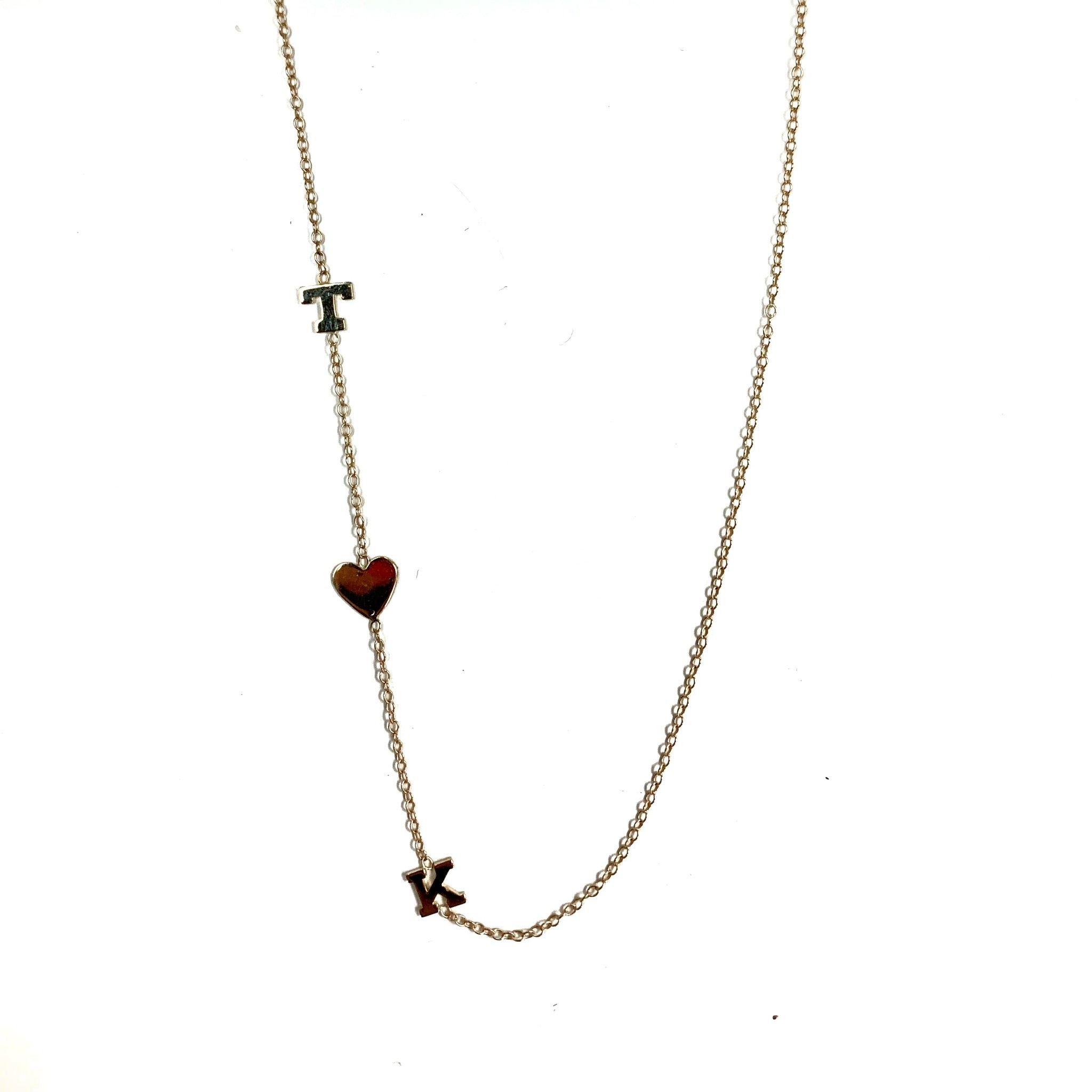 14K Initial Heart Initial Necklace