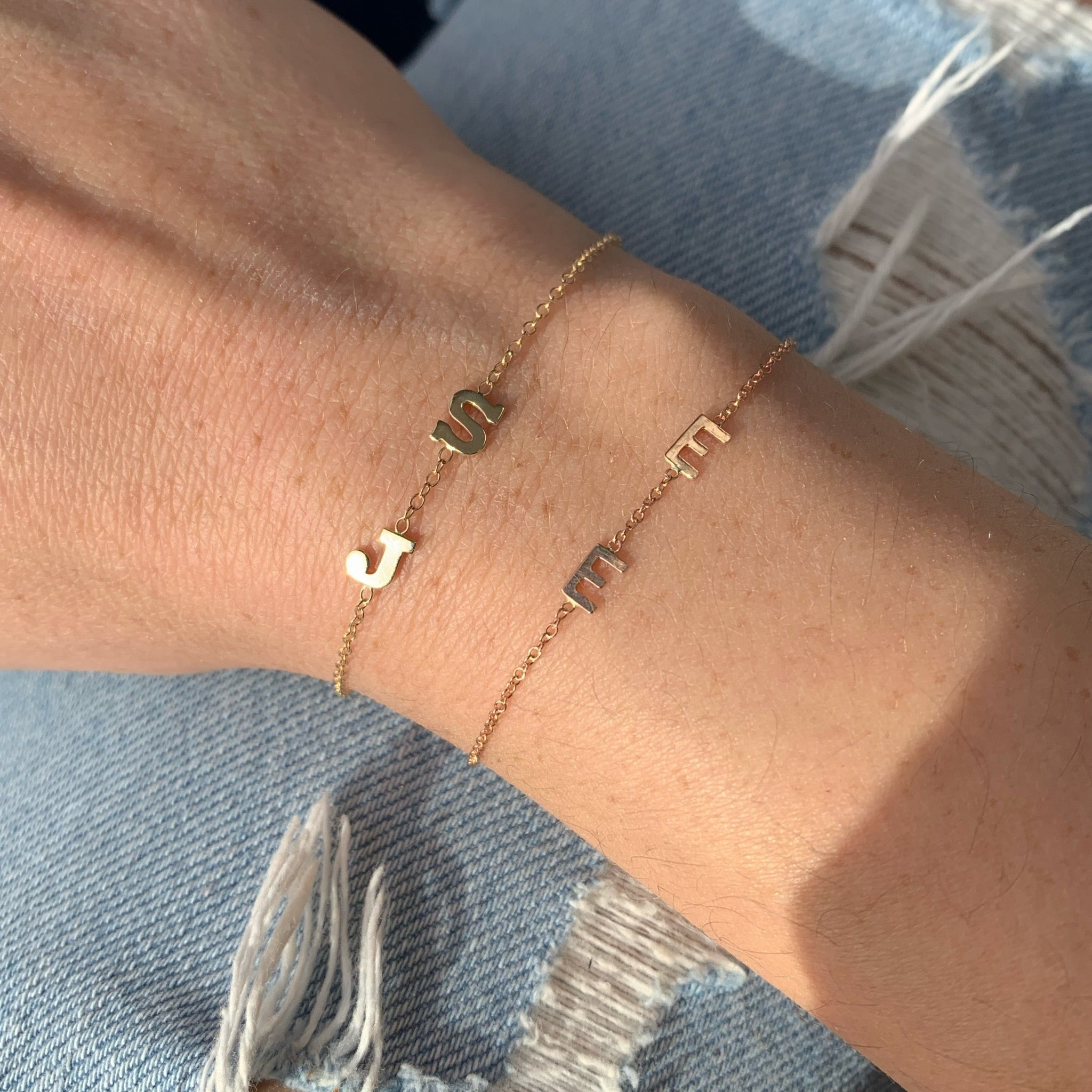 14K Gold Two Mini Initial Bracelet