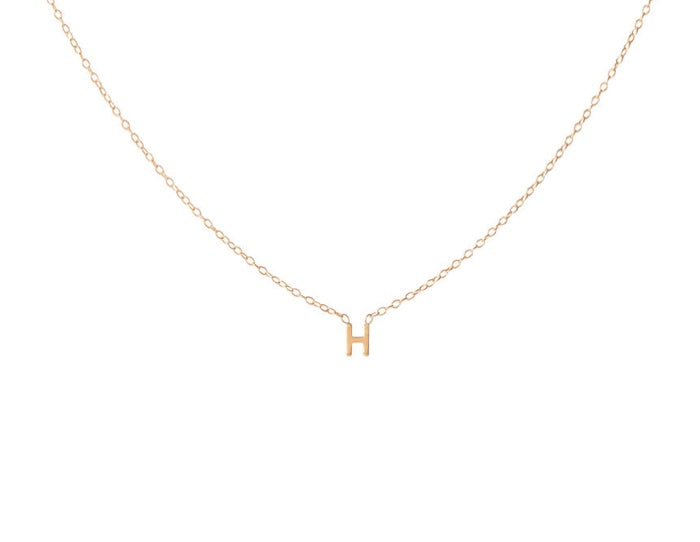 14K Gold Single Mini Initial Necklace