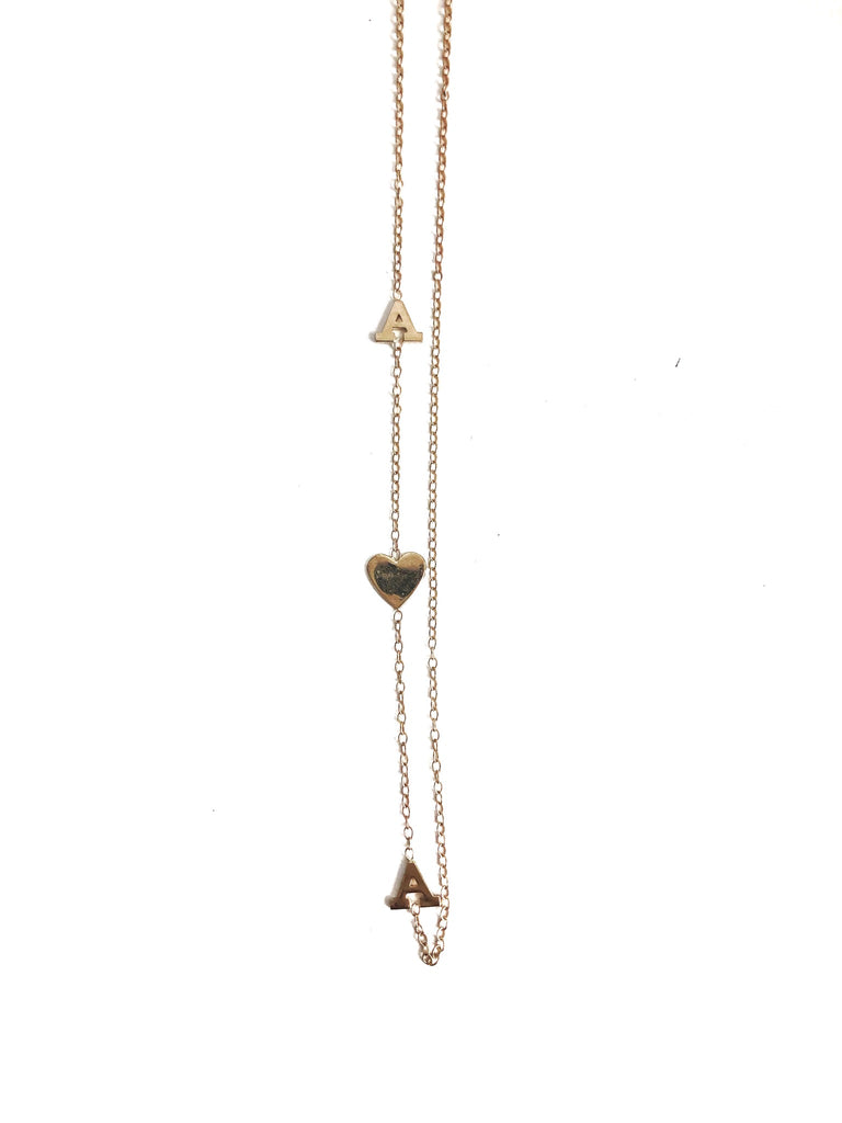Two Initial and Heart Necklace