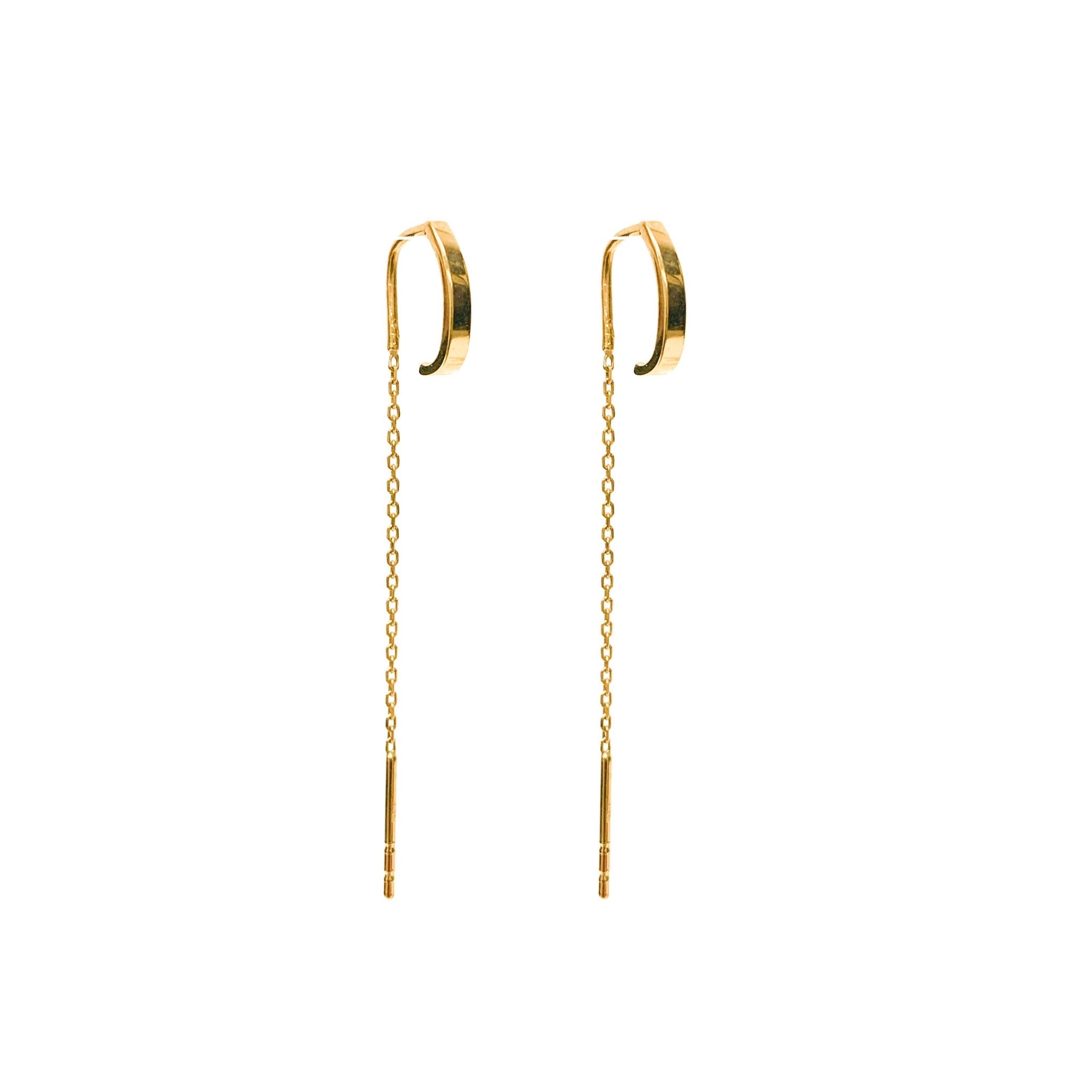 14K Gold Huggie Threader Earring