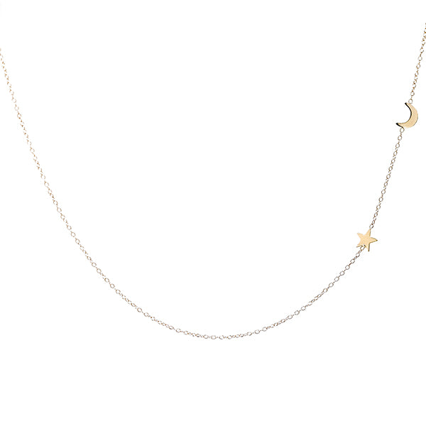 14K Gold Assymetrical Moon and Star Necklace