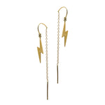 14K Gold Lightning Bolt Threader Earrings
