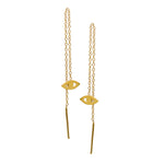 SAMPLE SALE 14K Gold Evil Eye Threader Earrings