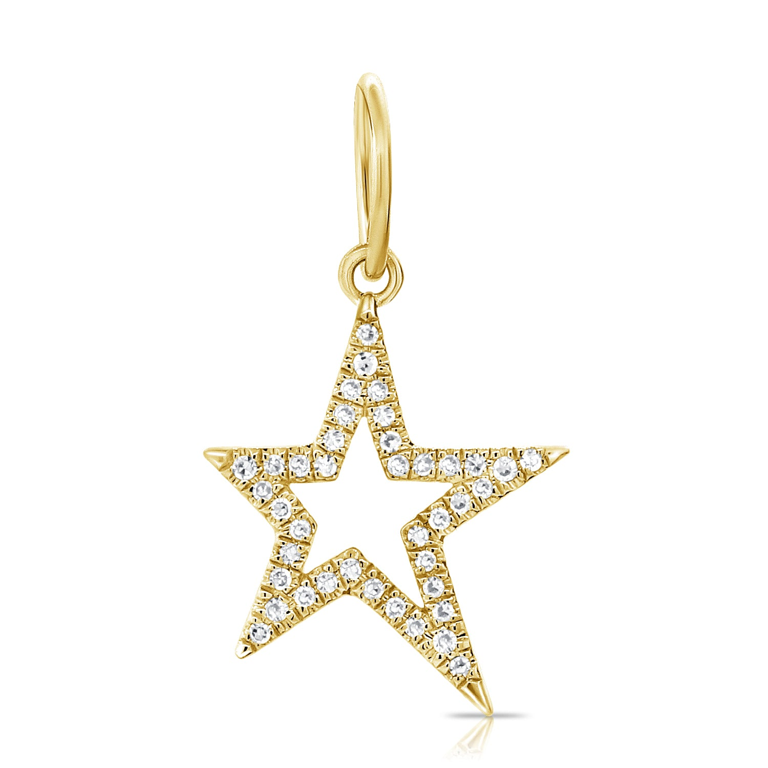 14K Yellow Gold Diamond Star Charm