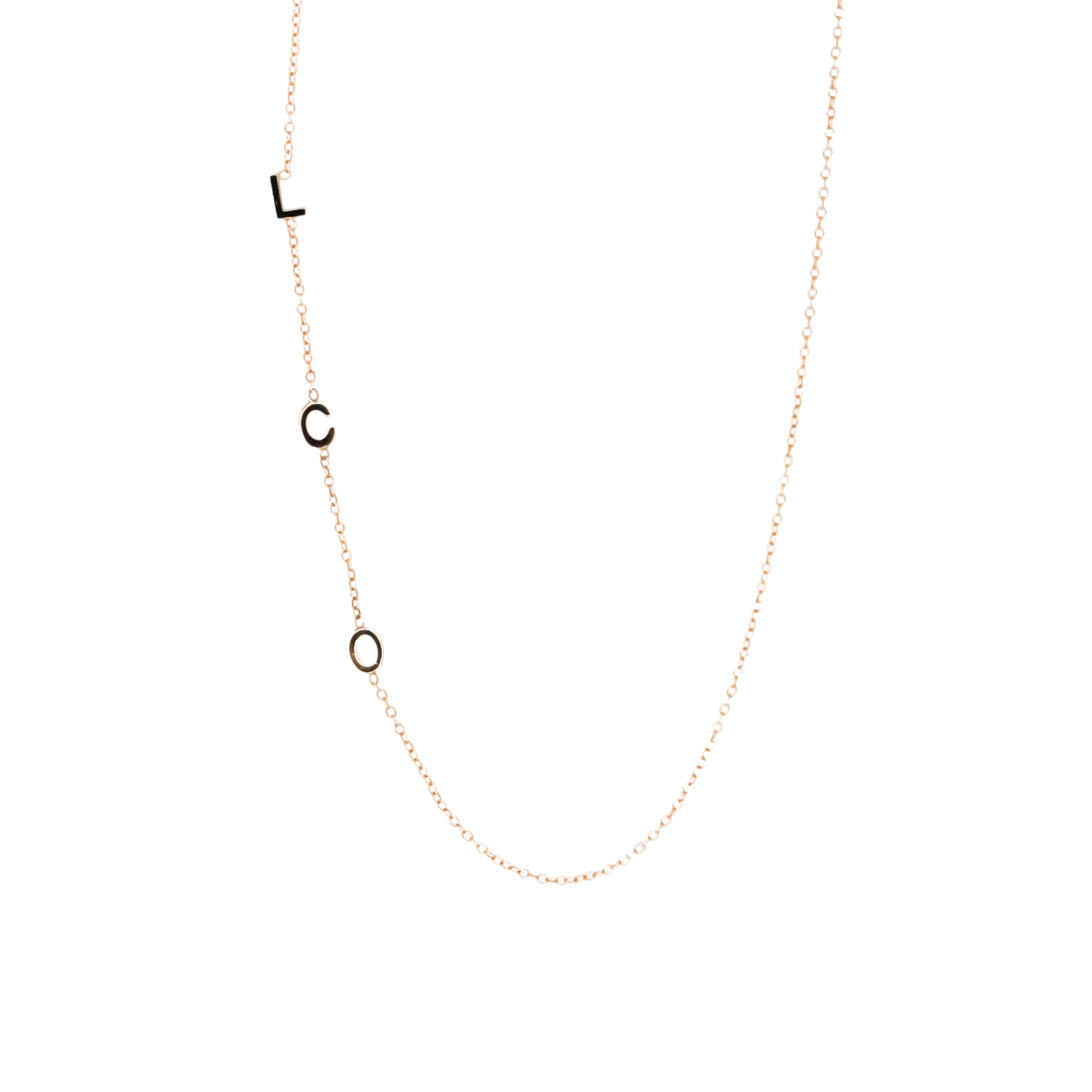 14K Gold Asymmetrical Three Mini Initial necklace