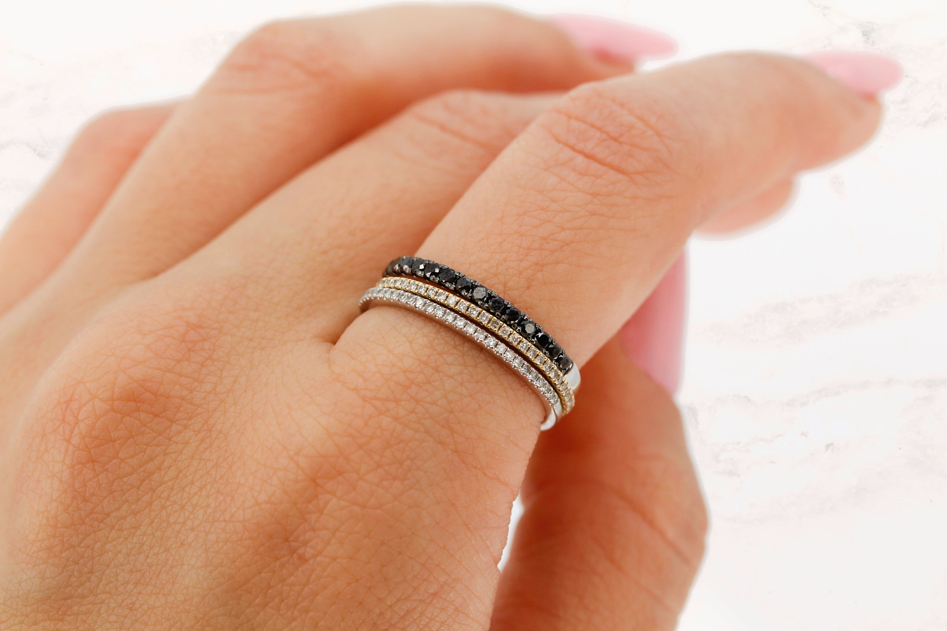 14K Gold Black Diamond Band