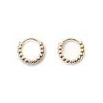 14K Gold Bead Huggie Earrings