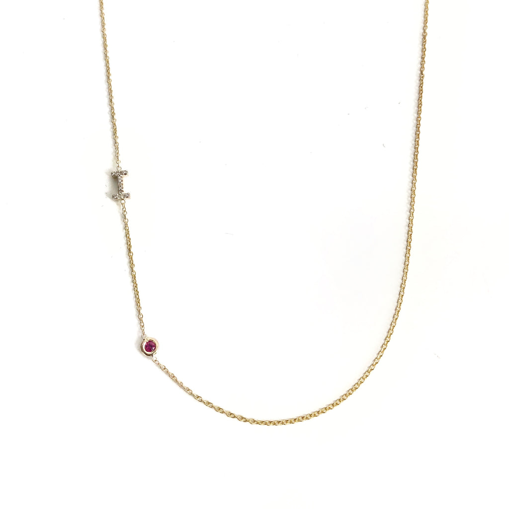Diamond Initial and Birthstone Necklace