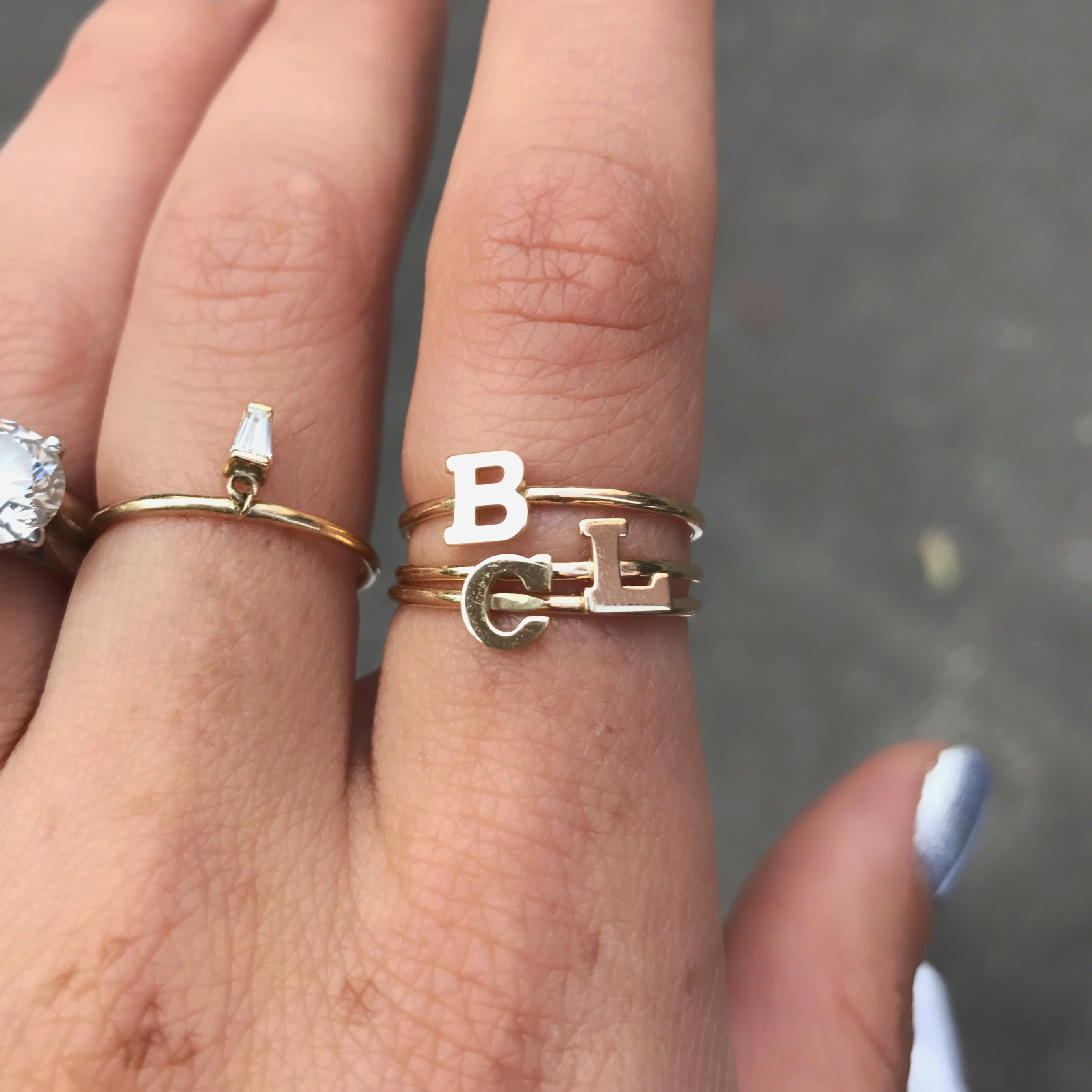 Single Initial Stack Ring, 14K Gold