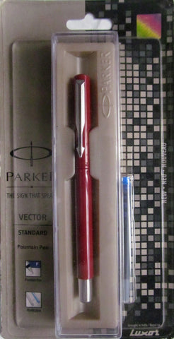 Parker Vector Standard Fountain Pen (Blue ink and Maroon Body)