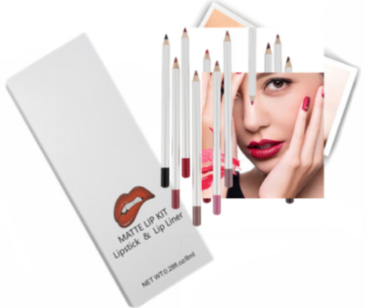12 Shade Long Lasting Liquid To Matte Lipstick Kit w/Matching Liner - MQO 50 pcs