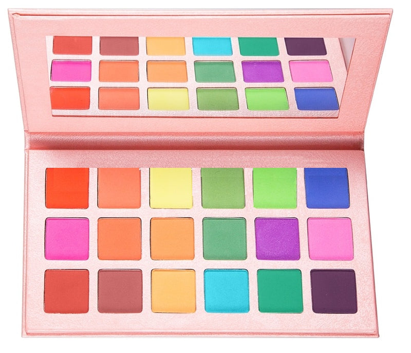Ready for private label! Our 18 shade Matte eyeshadow palette is sure to be a crowd pleaser! Highly pigmented, beautiful shades hand picked for their superior colors, waterproof and mixed with primer to ensure long lasting wear! This fabulous mixture of mattes will stun even your pickiest customers! Comes with no label/logo.