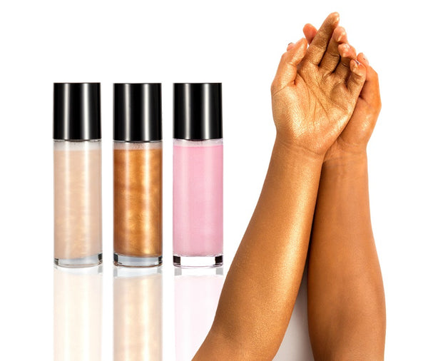 Ready? Set? GLOW!  Not sure what shade you want? Or what will sell best in your shop? Now you can try them all. 3 of each shade to test out.  Our Face and Body Shimmer Highlighting Spray is the perfect multi-purpose shimmer spray. A beautiful bronze gold liquid to prime, set and glow. A fine mist with reflective particles that will give you a glimmering dewy finish. Step into the spotlight this season, a legit all-day glow in just a couple of spritzes.     Testers can not be hot stamped.