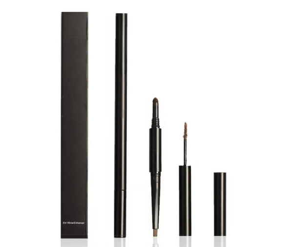 3 in 1 Eyebrow Enhancing Pencil with Liner Brow Powder and Brush - MQO 12 pcs
