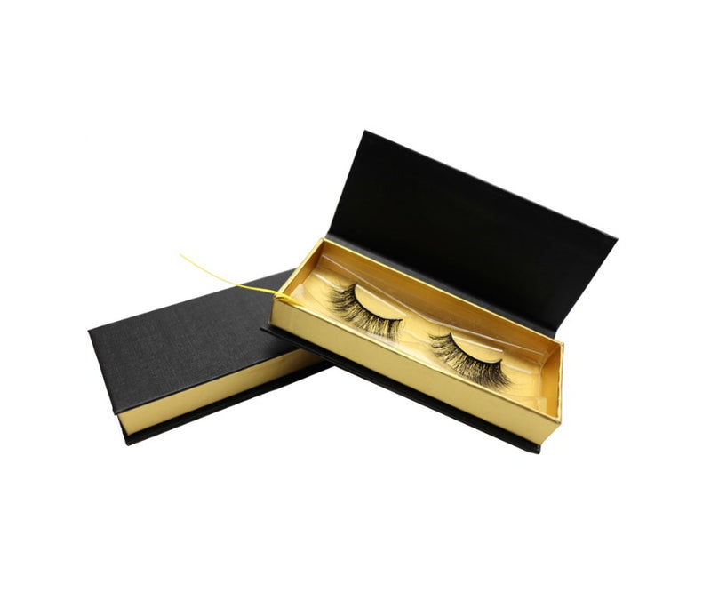 Customized Logo Black and Gold Eyelash Box - MQO 100 pcs