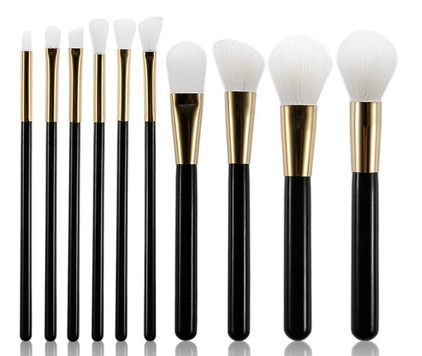10 pc Pro Sleek Black Handle Brush Set - MQO 12 pcs