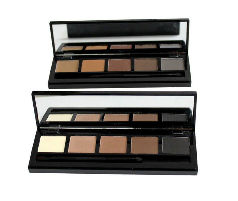 Our Eyebrow Powder Palette w/Double Ended Brush is a complete eyebrow kit for creating tailored yet natural-looking brows. Now you can frame your face like a pro! This kit includes five long-wearing, universal tones that blend together to create customized shades, while the pearlescent highlighter brightens and widens eyes. Also included is a clever dual two-in-one brushfor you to create, sculpt and define!     Can be hot stamped with your logo! Inquire at info@tashcosmetics.com