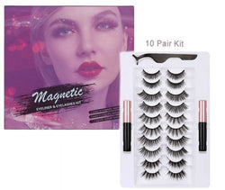 Silk Lash Kit - 10 Pair Magnetic Eyelashes and Eyeliner - MQO 12 pcs