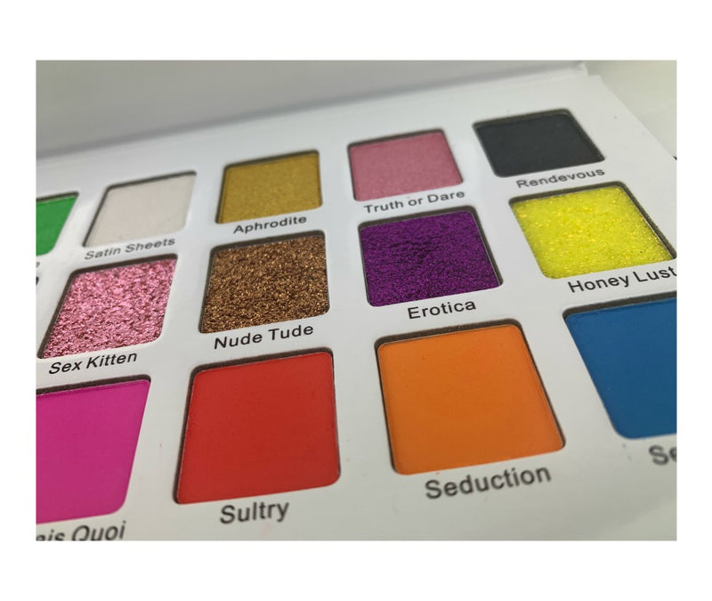 Be sultry, Be sexy, Be whoever you want to be! Our Exhibitionist Palette is a fun sexy palette with flirty names along with highly pigmented shades to compliment any skin tone. A limited-edition eyeshadow palette with full-pigment matte, shimmer, and glitter shades that are easily blendable, and crease- and fade-resistant. This palette is primer infused to ensure long lasting wear with minimal to no fall out. On sale for the month of june only! Get it while you can!