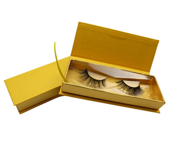 CUSTOMIZED LOGO Gold on GOLD EYELASH BOX - MQO 100 PCS