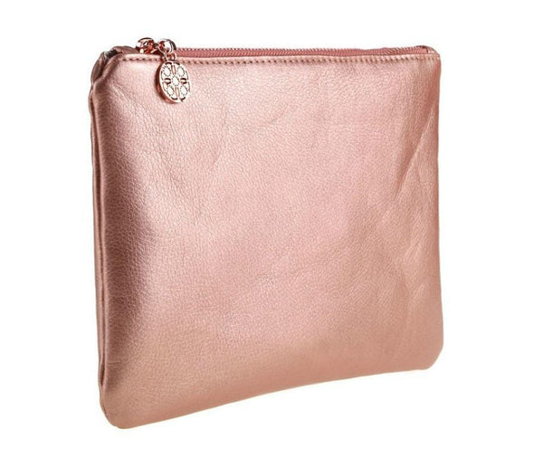 Zipper Pouch Cosmetic Makeup Bag - Rose Gold MQO 12 pcs