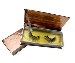 CUSTOMIZED LOGO ROSE GOLD EYELASH BOX - MQO 100 PCS