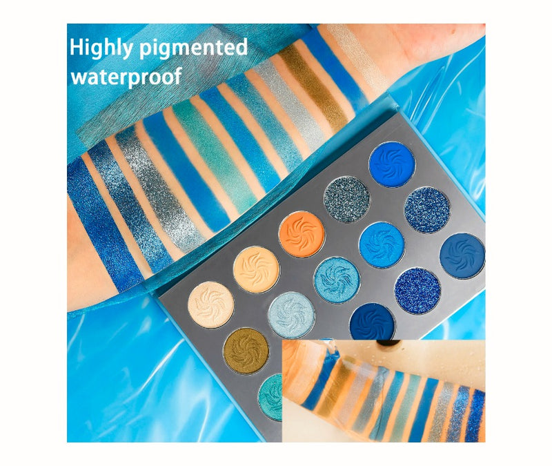 15 Shade Beachy Blues Eyeshadow Palette - MQO 12 pcs