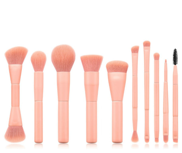 Our gorgeous 7 pc Mermaid Tail Makeup Brush Set will ensure you have a brush for every makeup need. A 7 Piece Brush Set, a complete collection of essential face and eye brushes that make it easy to sweep, smooth, smudge and highlight. The professional quality brushes are designed with sleek, chic black mermaid tail handles and durable, densely packed synthetic bristles. Ideal for use with liquids, creams and powders, the assortment offers perfect precision and expert blending to create polished full-face lo