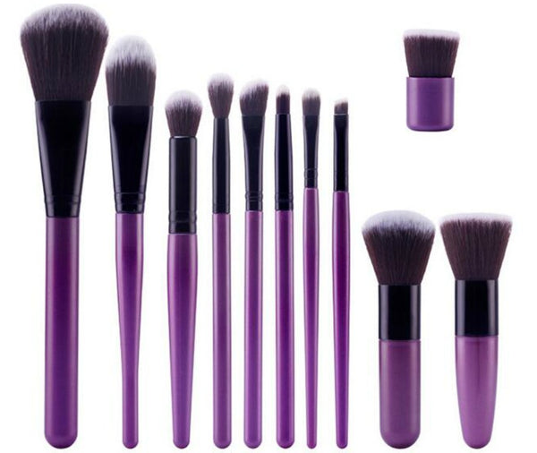 11 pc Pro Sleek Purple Brush Set 2 styles - MQO 12 pcs