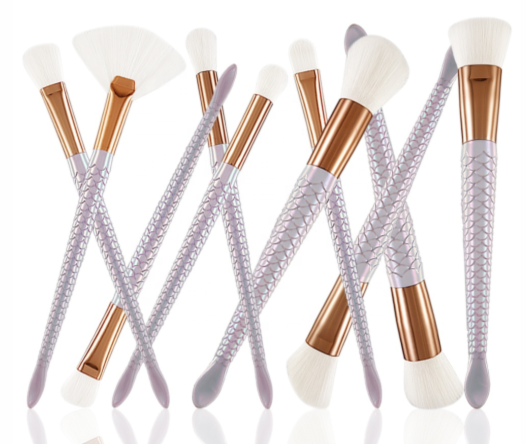 10 Piece White Mermaid Tail Brush Set - MQO 12 pcs