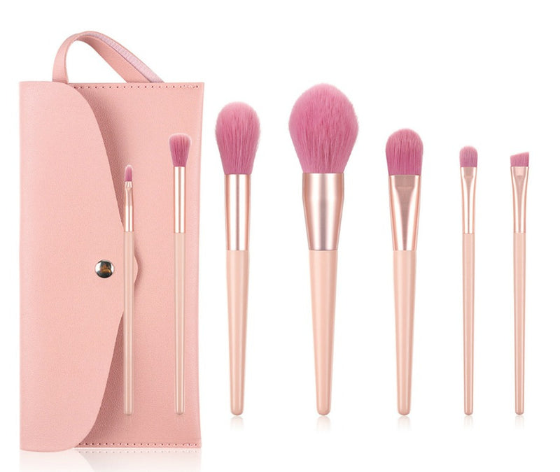 7 pc Pro Sleek Pink and Rose Gold Brush Set - MQO 50 pcs