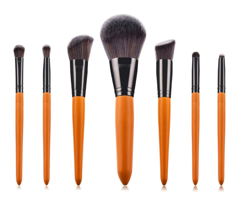 7 pc Pro Wooden Handle Brush Set - MQO 12 pcs