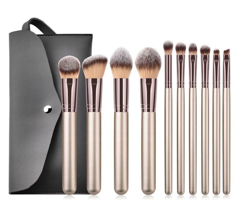 Our gorgeous 10 pc professional Brush Set will ensure you have a brush for every makeup need. Perfect for a MUA or Makeup Professional. A 10 piece complete collection of essential face and eye brushes that make it easy to sweep, smooth, smudge and highlight. This professional brush set is designed with chic champagne handles and a rose gold tip, and durable, densely packed synthetic bristles. Ideal for use with liquids, creams and powders, the assortment offers perfect precision and expert blending to creat