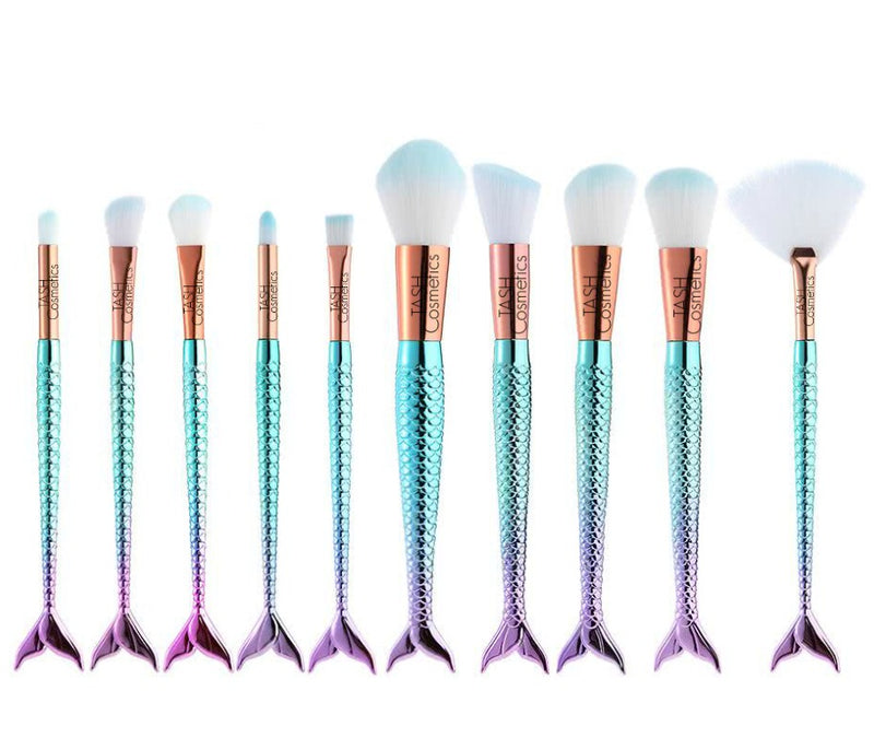 Our lush, plush - Vegan - 10pc Mermaid Brush Collection Set swirls just the right amount of pressed or loose powder onto the face and body for the perfect finishing touch. Its soft, flexible bristles make it the ultimate tool to create flawless makeup. If you want to create makeup masterpieces, this is the perfect collection for you.  Collection Includes essentials for:  Face Eyes Lips   Eco Friendly - Go Green - NO ANIMAL CRUELTY!