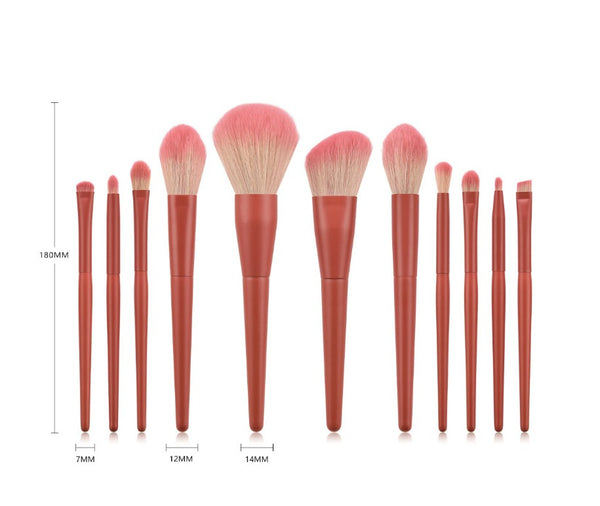 11 pc Pro Pink Coral Brush Set - MQO 12 pcs