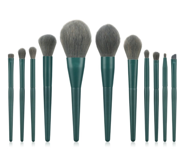 11 pc Pro Emerald Green Brush Set - MQO 50 pcs