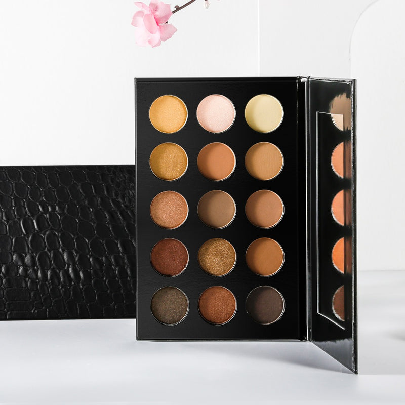 15 Shade Black Textured Case Eyeshadow Palette - MQO 50 pcs