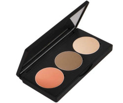 Sculpt, define, and highlight your face with our Trio Palette Contour Kit. This palette includes contour shades in addition to a shimmer highlight shade that will add that extra sparkle to any desired area. This kit is available in 3 color variations that are complementary to light, medium, and deep complexions. It's easy to contour with these pigmented, blendable, buildable shades. Ideal for all levels from beginner to advanced.