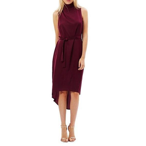 Asymmetrical Turtle Neck Midi Dress