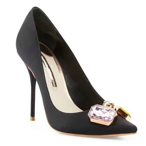 Black Pointed Toe Stiletto Heel Pumps-Angel Doce