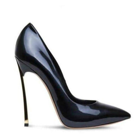 Black Shiny Pointed Toe High Heel Pumps-Angel Doce