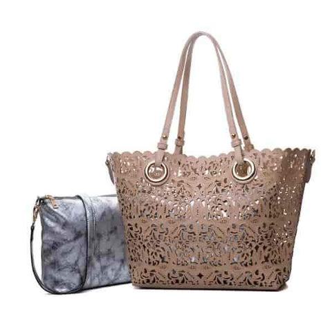 Composite Hollow Out 2 in 1 Shoulder Handbag-Angel Doce